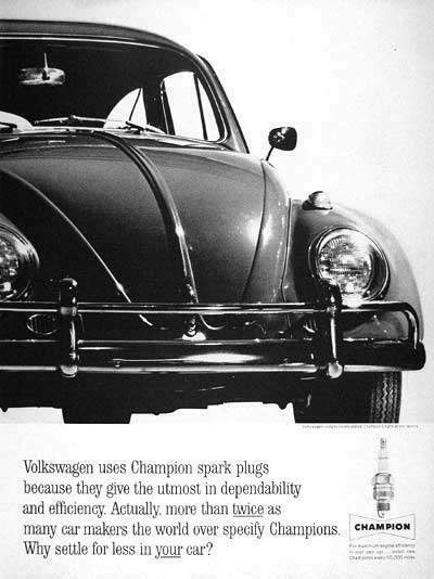 1963 VW Bug And Champion Sparkplugs Ad - Air Cooled VW Love | Air Cooled VW Love