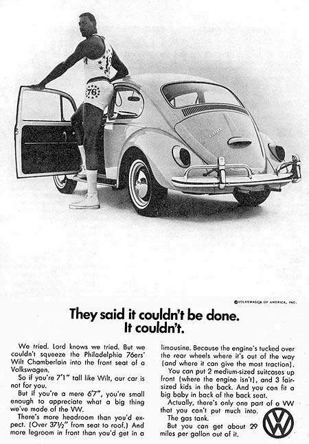 1966 VW Beetle Print Ad With Wilt Chamberlain